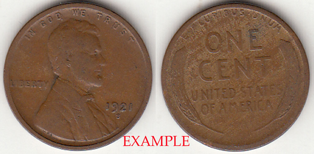 1921-S 1c Lincoln cent wheat cent