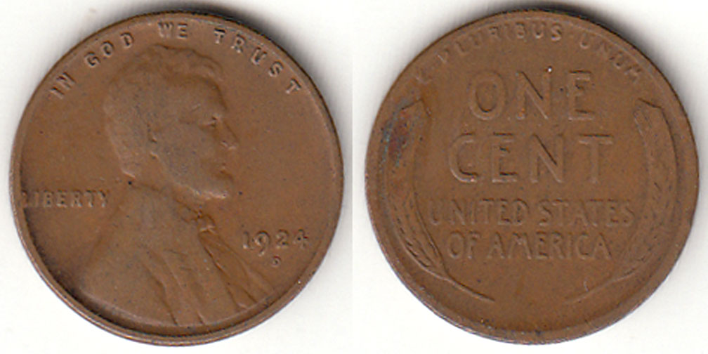 1924-D 1c Lincoln cent wheat cent
