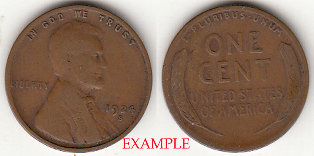 1924-S 1c Lincoln cent wheat cent