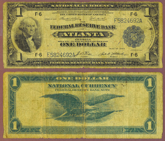 1918 $1.00 FR-723 US Large size federal reserve bank note Kansas City