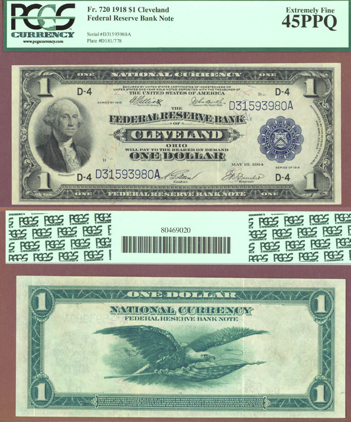 1918 $1.00 FR-720 Large size US federal reserve bank note green eagle  PCGS Extremely Fine 45 PPQ