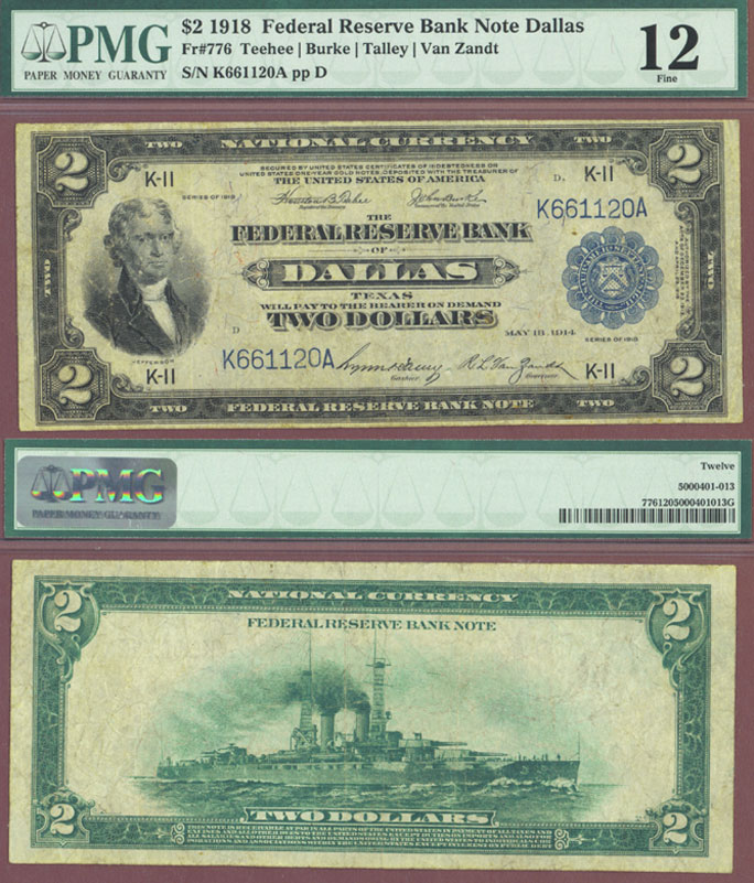 "1918 $2.00 FR-776 ""Battleship"" Dallas Federal Reserve Bank Note PMG Fine 12"