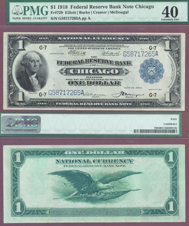 1918 $1.00 FR-729 Large size US federal reserve bank note green eagle  PMG Extremely Fine 40