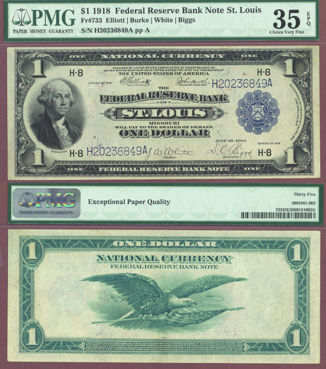 1918 $1.00 FR-733 Large size US federal reserve bank note green eagle  PMG Very Fine 35 EPQ
