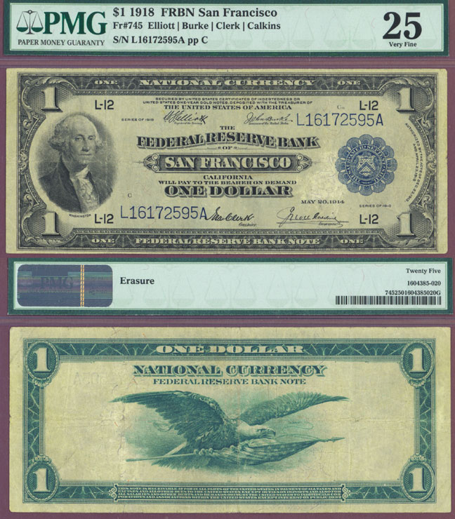 1918 $1.00 FR-745 US Large size federal reserve bank note San Francisco