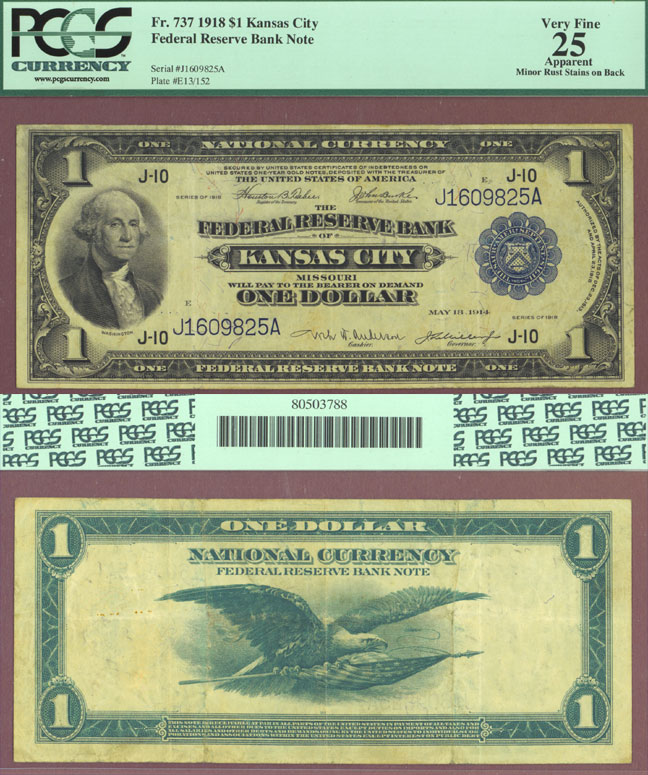 1918 $1.00 FR-737 Large US Large Size Federal Reserve Bank Note Kansas City