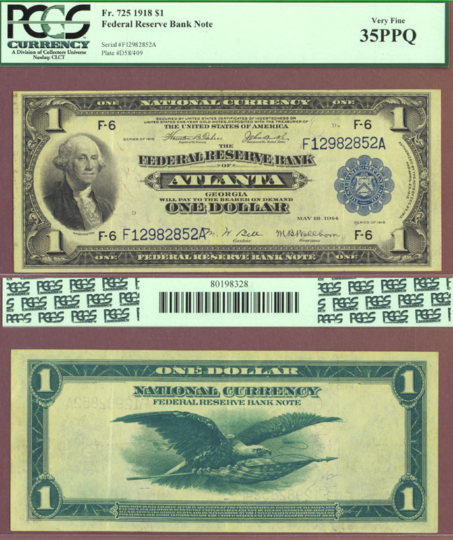 1918 $1.00 FR-725 Atlanta US large size federal reserve bank note