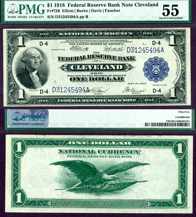 1918 $1.00 FR-720 Cleveland US large size federal reserve bank note PMG About Uncirculated 55