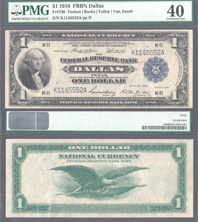 1918 $1.00 FR-740 Dallas US large size federalreserve bank note PMG Extremely Fine 40