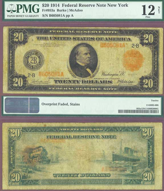 1914 $20 FR-953A US Large Red Seal Note PMG Fine 12