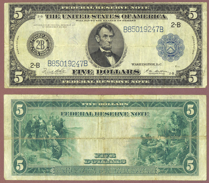 1914 $5.00 FR-851a US large size federal reserve note New York
