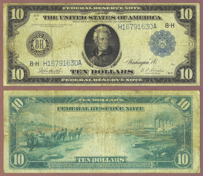 1914 $10.00 FR-934 Large US federal reserve note St. Louis District 8.