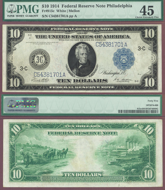 1914 $10 FR-915c Large US Federal Reserve Note Philadelphia PMG Choice Extremely Fine 45