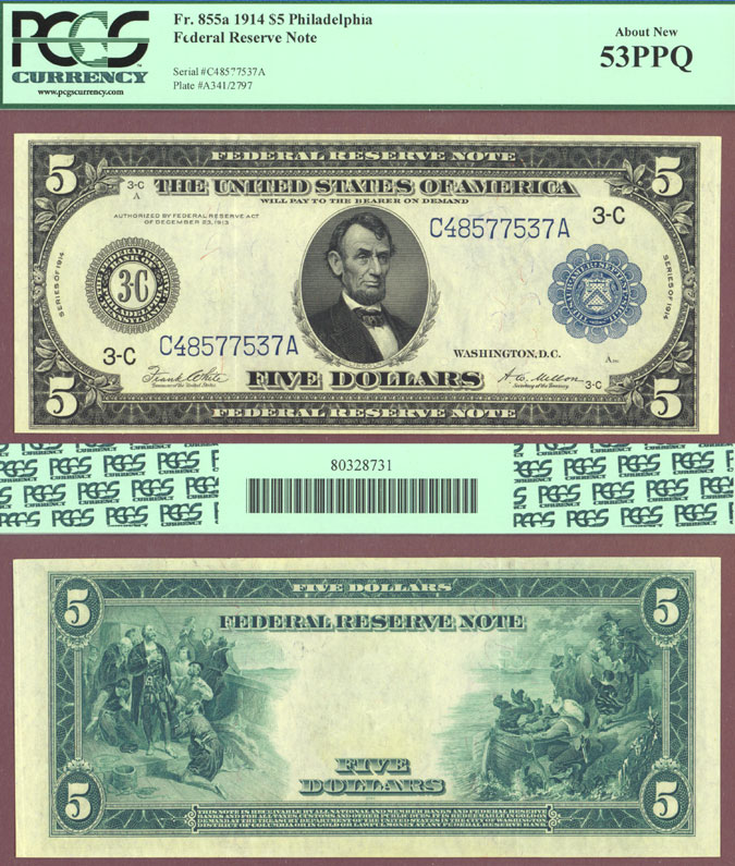 1914 $5 FR-855a Large US Federal Reserve Note PCGS About New 53 PPQ
