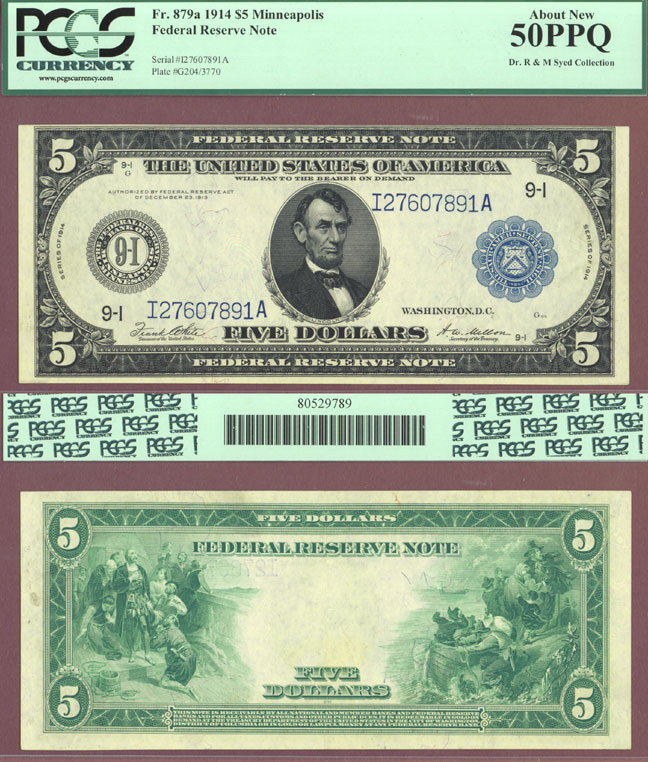 1914 $5 FR-879a large size US federal reserve note