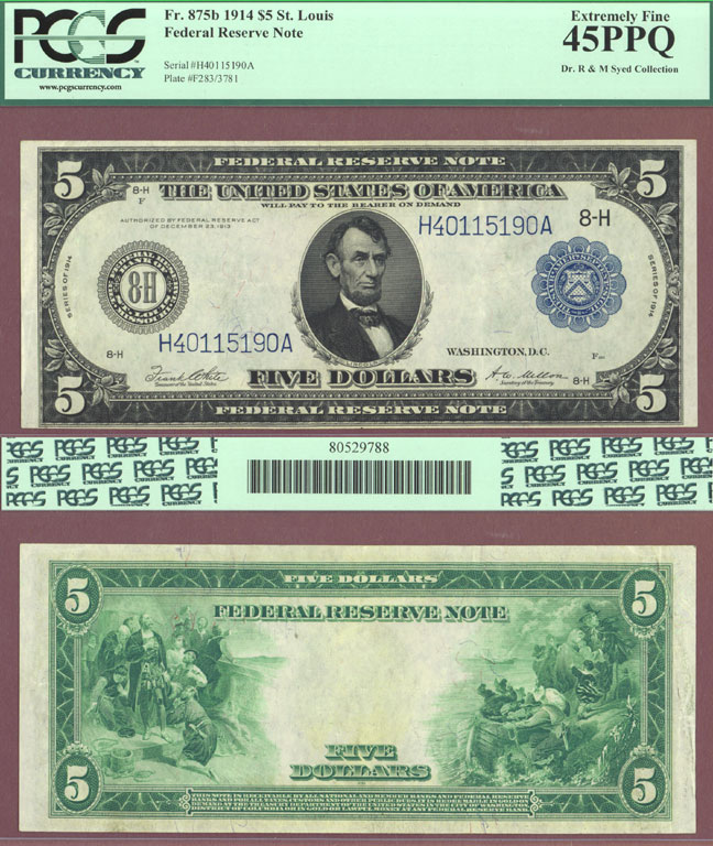1914 $5 FR-875b US large size federal reserve note