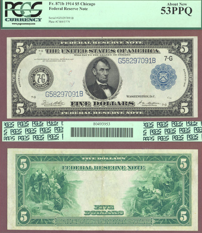1914 $5 FR-871b Large size US federal Reserve note