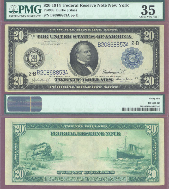 1914 $20.00 FR-969 US large sivze federal reserve note