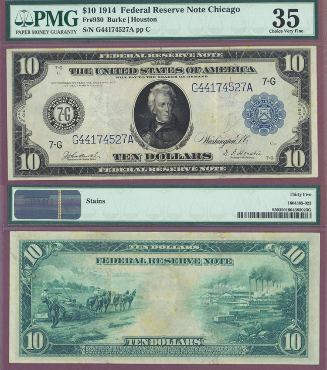 1914 $10 FR-930 US larege size federal reserve note