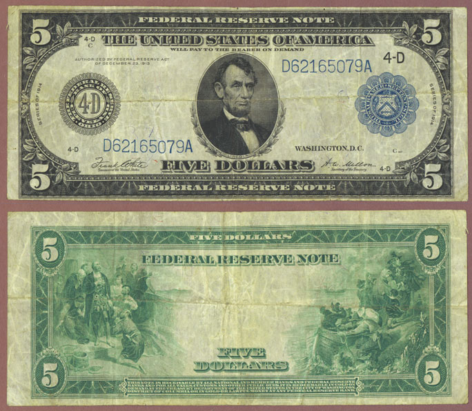1914 $5.00 FR-859 US large size federal reserve note