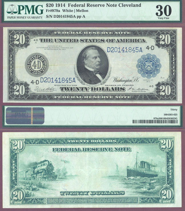 1914 $20.00 FR-979a US large federal reserve note Cleveland