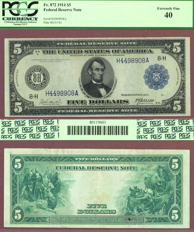 1914 $5 FR-872 US large size federal reserve note St. Louis