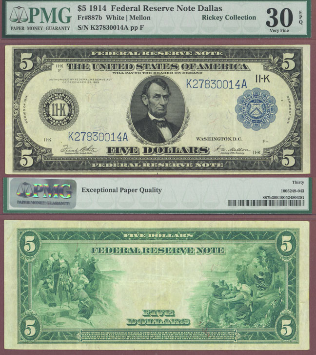 1914 $5 FR-887b US large size federal reserve note Dallas