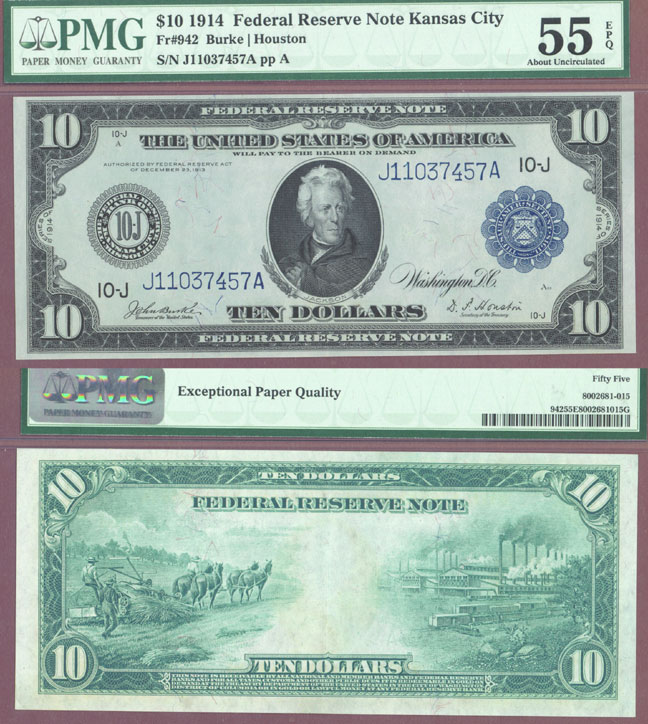 1914 $10 FR-942 Kansas City US large size federal reserve note