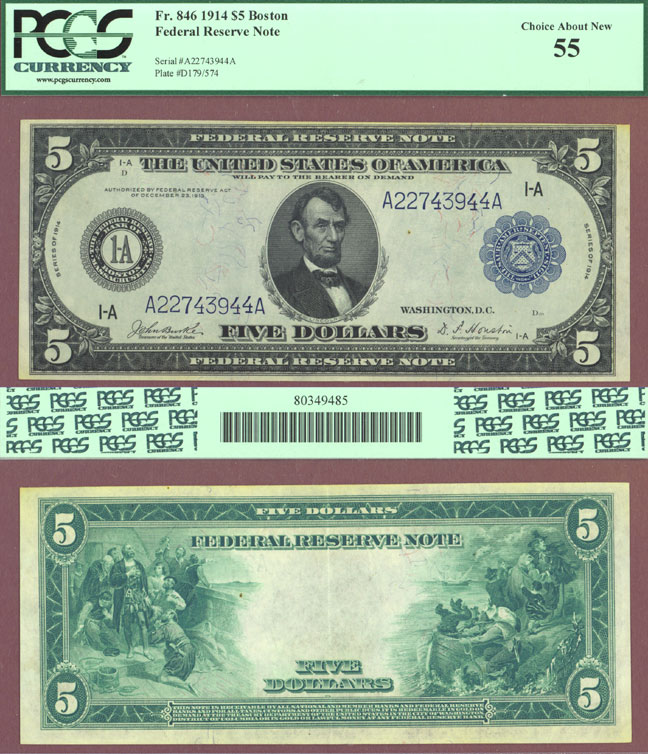 1914 $5.00 FR-846 Boston US large size federal reserve note PCGS 55