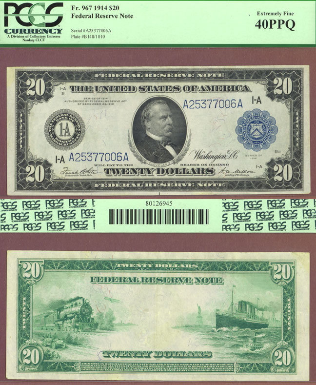 1914 $20.00 FR-967 Boston US large size federal reserve note PCGS EF 40