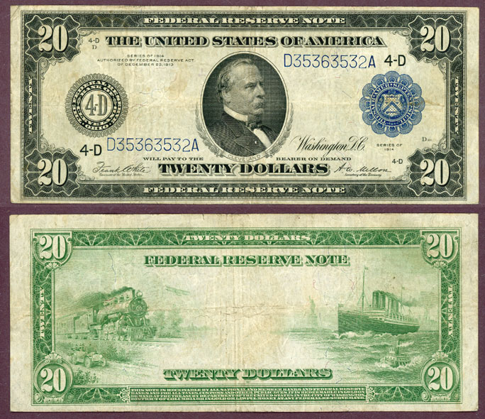 1914 $20.00 FR-979a US large size federal reserve note