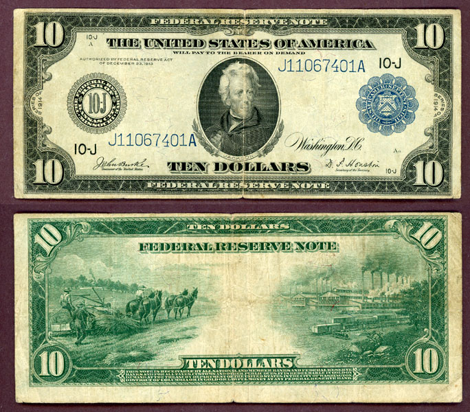 1914 $10.00 FR-942 Kansas City US large size federal reserve note