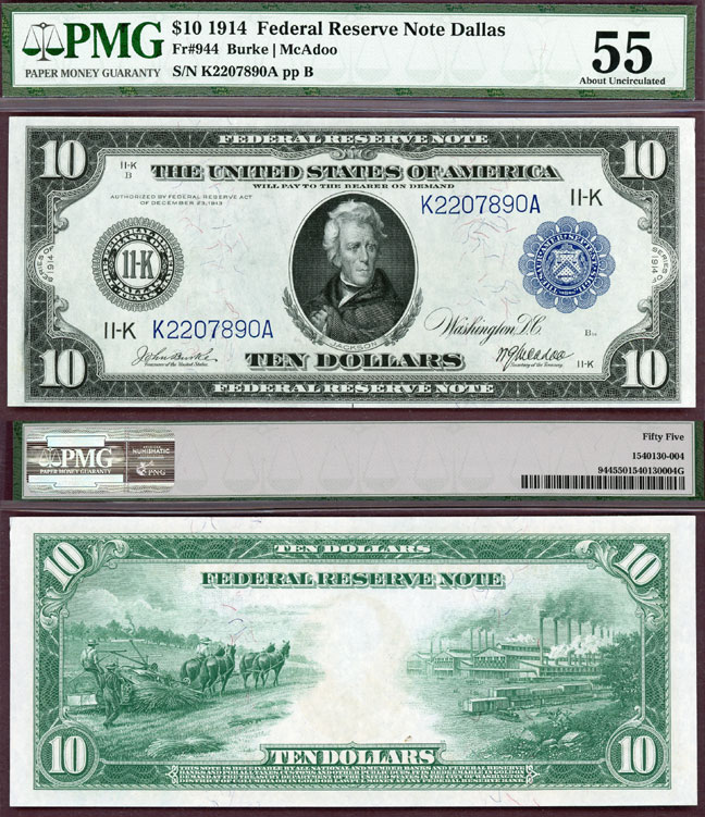 1914 $10.00 FR-944 Dallas US large size federal reserve note PMG AU 55