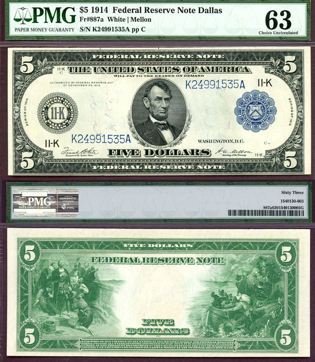 1914 $5.00 FR-887a Dallas US large size federal reserve note PMG CU 63