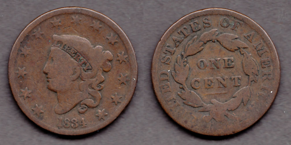 1834 1c US large cent