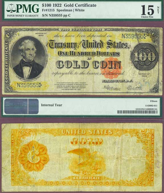 1922 $100 US Large size Gold Certficate PMG Choice Fine-15