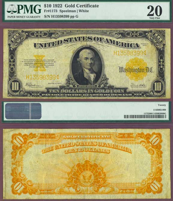 1922 $10 FR-1173 PMG Very Fine 20 US Large Size Gold Certificate Speelman/White FR-1173