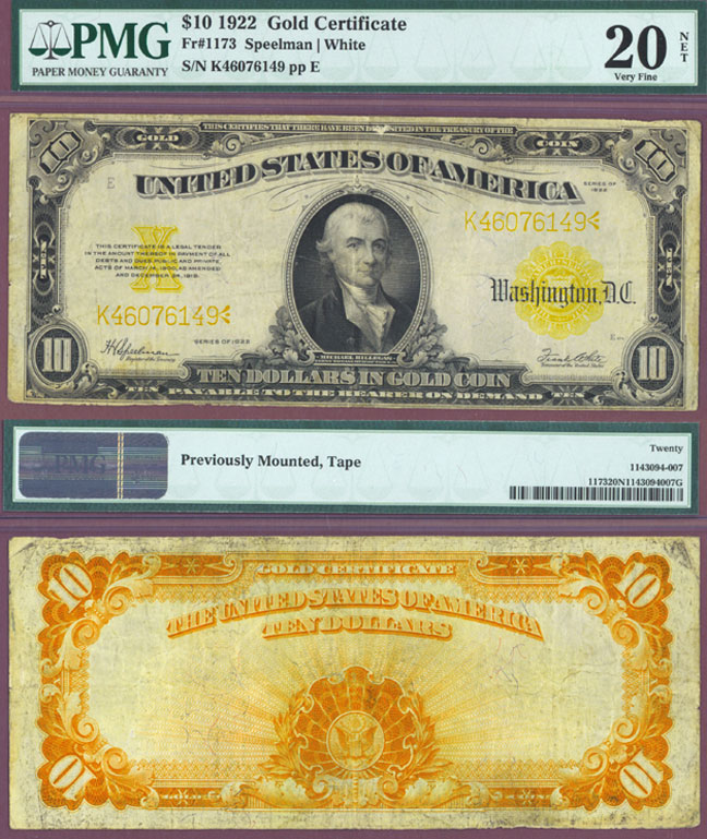 1922 $10 FR-1173 US Large Size Gold Certificate PMG Very Fine 20