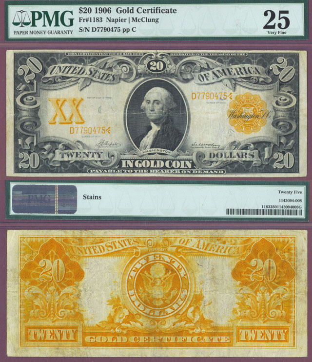1906 $20 US Large Size Gold Certificate PMG Very Fine 25