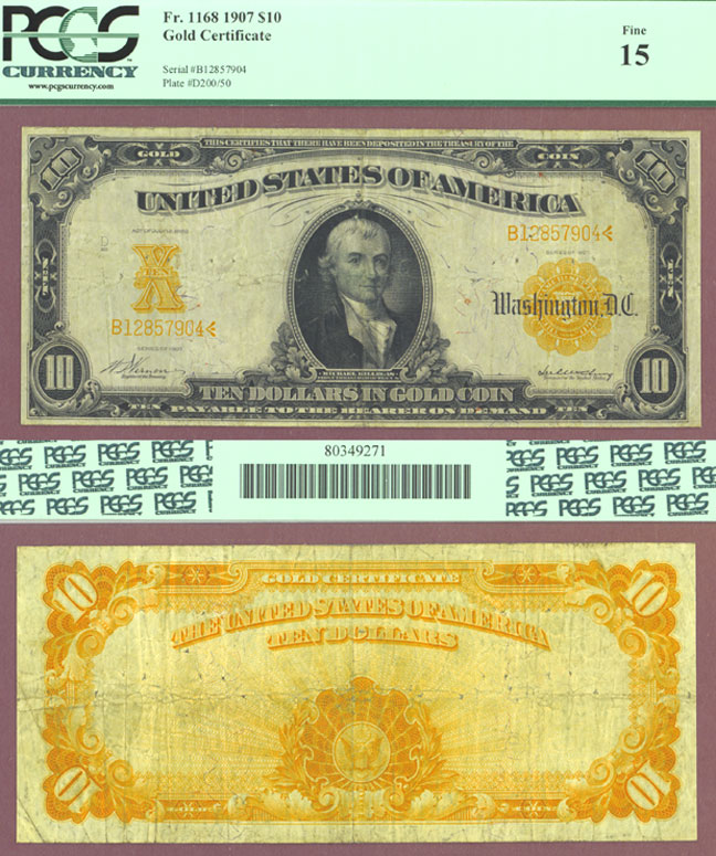 1907 - $10 FR-1168 US large size gold certificate