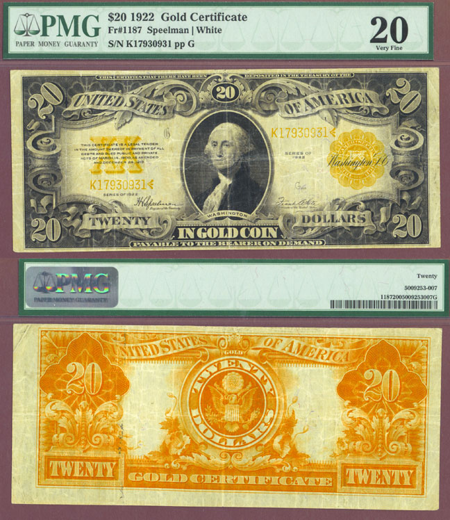 1922 $20 FR-1187 US large size gold cetificate