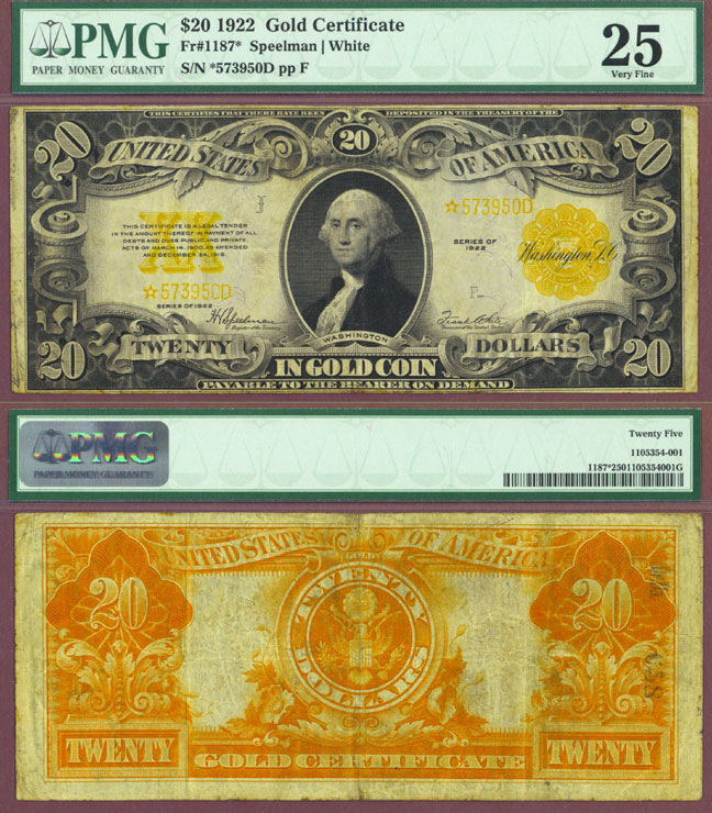 """1922 $20 FR-1187* """"STAR Note"""" US large size gold certificate replacement note"""