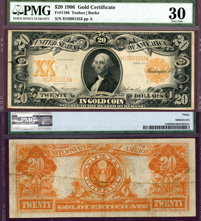 1906 $20 FR-1186 US large size gold certificate PMG Very Fine 30