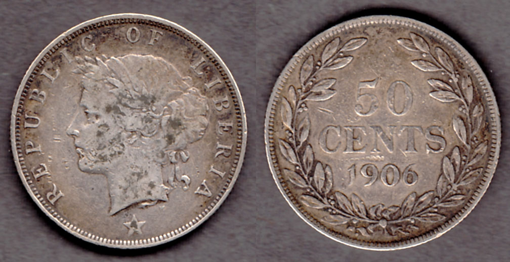 1906 50 Cents collectable silver coin Liberia