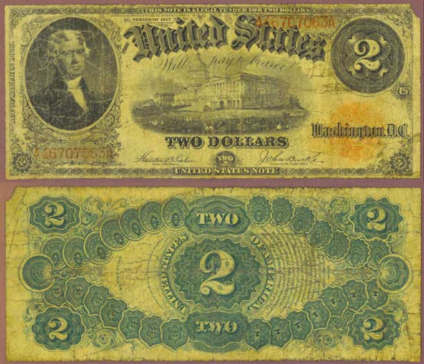 1917 $2.00 Fr-57 US large size legal tender note