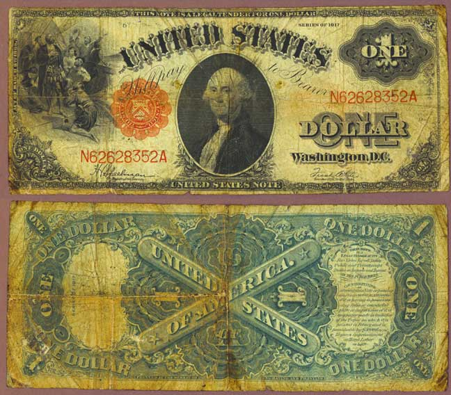 1917 $1.00 FR-39 US Large Size Legal Tender Notee 30 Speelman/White FR-39