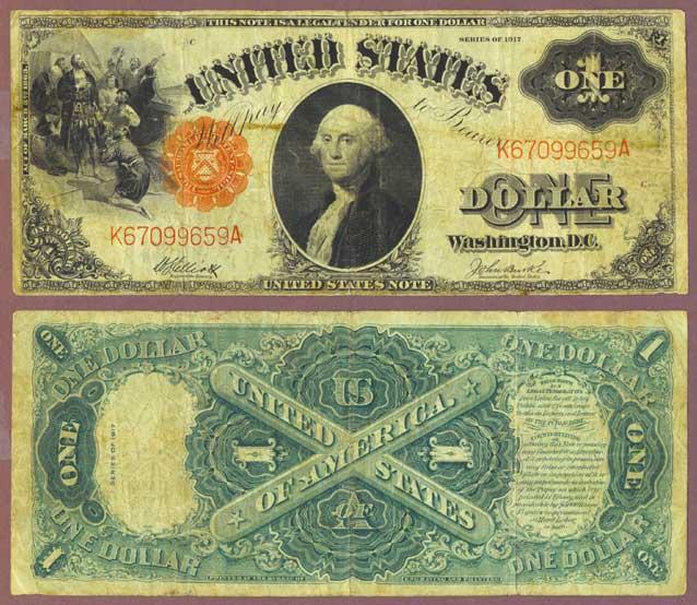 1917 $1.00 FR-37 US large legal tender note Elliott/Burke FR-37