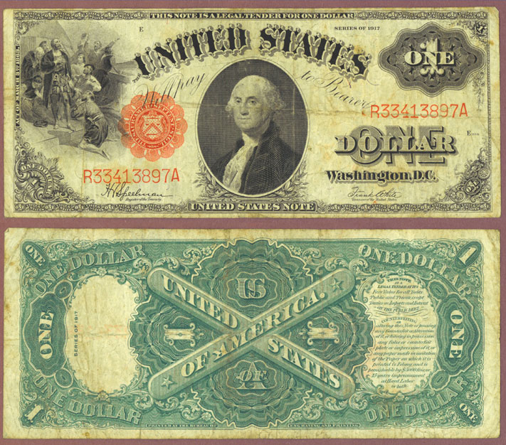 1917 $1.00 FR-39 US Large Size legal tender note, red seal note