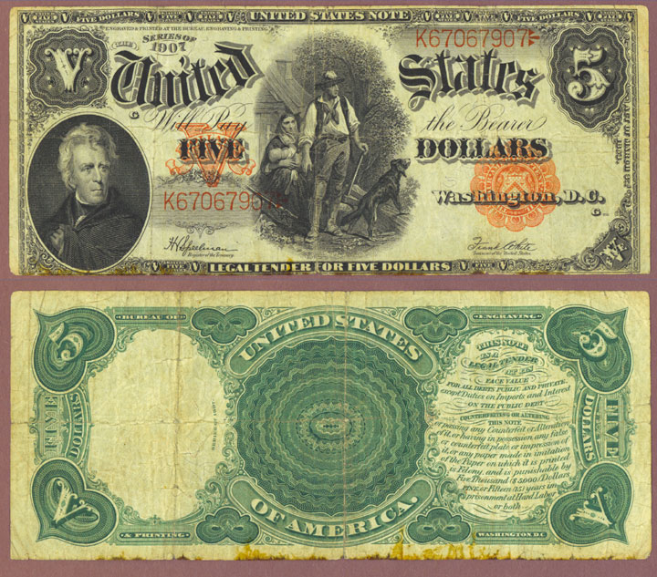 1907 $5.00 FR-91 Wood Chopper Large Legal Tender Note Speelman/White FR-9
