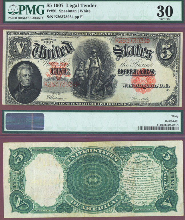 1907 $5.00 FR-91 PMG Very Fine 30 Wood Chopper Large Legal Tender Note